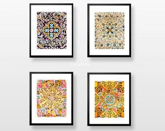 Wall Art prints, Set Wall Art, Colorful wall art, Art print, modern home decor, Architecture art, Mosaic tiles, Gaudi, tile pattern