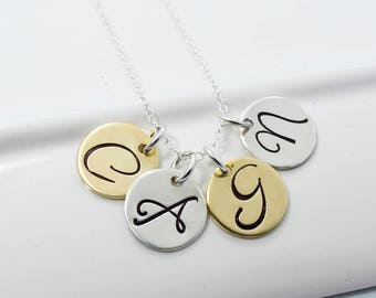 Four Initial Mixed Metal Necklace | Personalized Initials Jewelry | Hand Stamped Mothers Necklace