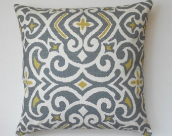 Gray and citrine ikat decorative pillow cover, double sided