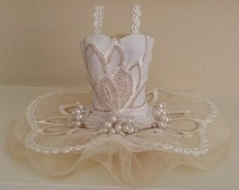 HINT OF GOLD - Ballet Art Dress, ballerina tutu, miniature dress, bridesmaid gift, bat mitzvah gift