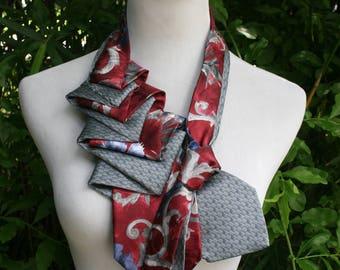 RecycledNeckties ~ Necktie Necklace - Burgundy RED Print Tie / GRAY Silk Tie - Women's Silk Necktie - Necktie Scarf - Silk Scarf Necktie