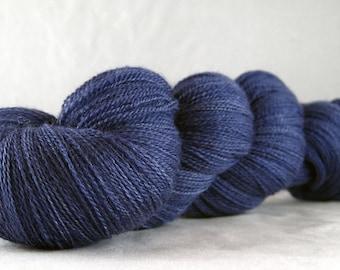 Blue Dusk - Hand Dyed Superwash Merino Silk Cobweb Lace Yarn