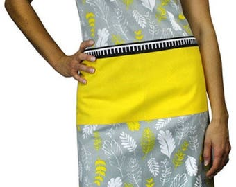 Gray and Yellow Leaf Print Apron, 100% Cotton, Kitchen Gift for Chef Cook