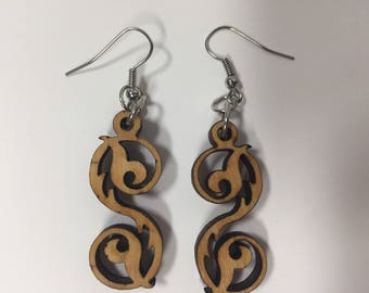 Wooden Swirled Vine Earrings