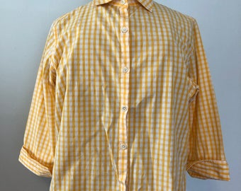 Gingham Yellow and White Button Down Blouse / F. by Faconnable Size Large / Designed in France / Three Quarter Sleeve Top / Spring or Summer