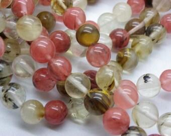 38 stones 10 mm transparent pink, white black watermelon tourmaline