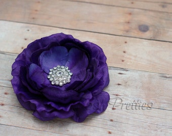 Purple  Flower Hair Clip Plum Flower Hair Clip Rhinestone Flower Hair Clip Ruffled Flower Hair Clip Headband