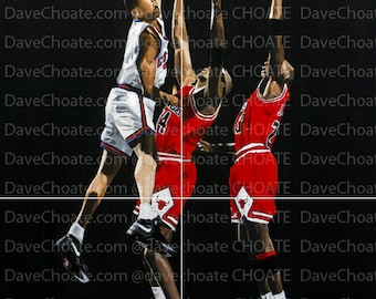The Dunk. John Starks, New York Knicks dunks on Michael Jordan, Chicago Bulls. Art Print.