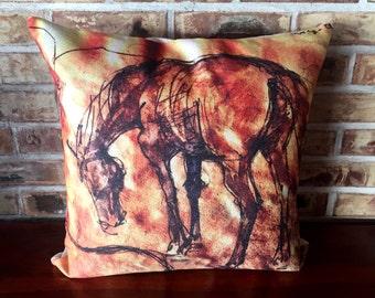 Rustic Modern Horse Linen Decorative Pillow Cover