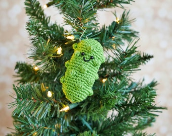 Crochet German Pickle Christmas Ornament Pattern pdf instant digital download holiday gift tree decor veggie vegetable