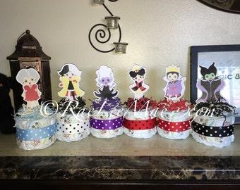 Baby Disney Villains Diaper Cake Mini/Disney Baby villains Baby Shower/Little Princess Baby Shower/maleficent/ursula/cruella/lady tremaine