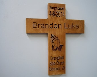 Baptism Gift Child Christening Day Keepsake Praying Hands Cross Wooden Carved Sign Baby Name Baptism Date Church Name Pine 11 x 13 BSC3
