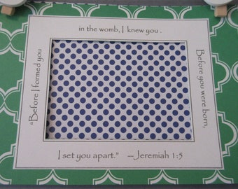 Preppy Blue and Green Gender Neutral Baby Ultrasound Frame Pregnancy Reveal Jeremiah 1-5 Nursery Decor 5x7 Frame
