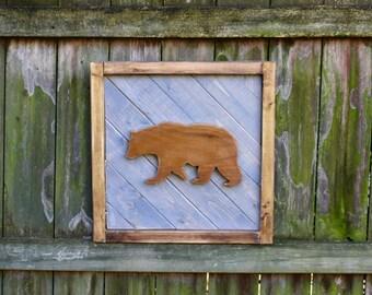 Brown Bear Wood Wall Art, Modern Rustic Wooden Artwork, Bear Nursery Art, Boho Decor, Woodland Bear, Eco-Friendly, Wildnerness Nursery