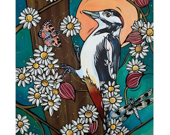 Woodpecker Art Print, Illustration Woodpecker Bird and Dragonflies with Daisies at Sunset