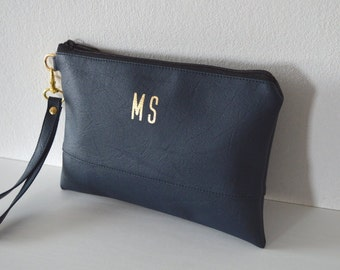 Navy Wristlet with Gold Initials