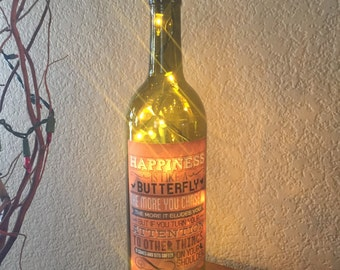 Wine Bottle Light, Happiness Quote Label, Henry David Thoreau, Quotes, Decorated Wine Bottle, Recycled Wine Bottle, Home Decor, Wine Gift