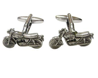 Silver Toned Textured Classic Motorcycle Cufflinks