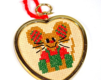 Vintage Christmas Ornament, Needlepoint, Mouse, Heart Shaped Gold Tone Frame, Kitsch, Holiday Decor  (110-14)