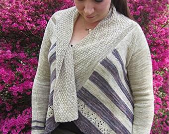 Dibella Knitting Pattern Womens Cardigan Sweater w/Lace and Stripes