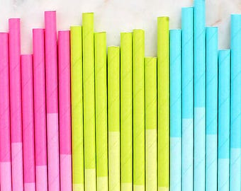 Spring Paper Straws, Two Tone Spring Cocktail Straws, Cake Pop Sticks, Drinking Straws, Easter Paper Straws, Spring Party Straws