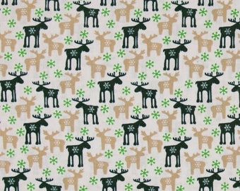 New Christmas Fabric, Reindeer Fabric: Fabri-Quilt Seasons Greetings Reindeer Ecru 100% cotton fabric by the yard  (FQ172)