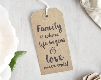 Family is Where Life Begins and Love Never Ends Stamp | Quote Stamp - Family Quote - Gift for Crafter