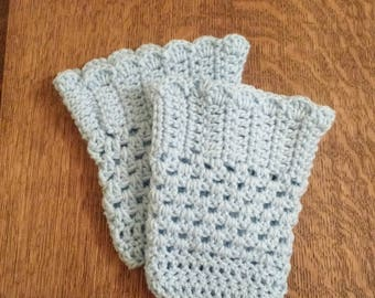 Handmade Boot Cuffs / Boot Toppers/ Blue Boot Cuffs/ Crochet Boot Cuffs/ Scallop Boot Cuff/ Boot Accessories/ Gift for Her/ Winter Accessory