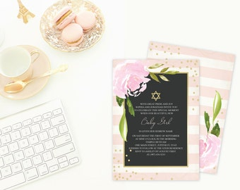 DIY Invitations ~ MS Word Template, Editable, Girl Naming Day Religious Ceremony, Pink Stripes and Floral, Printable, Star of David Invite