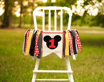 Mickey Mouse inspired birthday high chair banner, fabric banner, garland, smash cake decoration, or photo prop