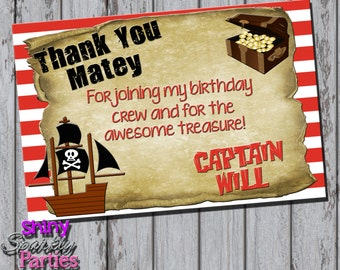 PIRATE THANK YOU Card, Pirate Party Thank You Card, Boy's Birthday Thank You Cards, Pirate Ship, Nautical, Pirate Party, Treasure chest,