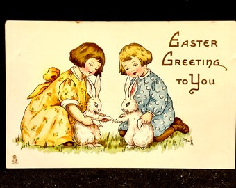 Antique Easter Post Card, Easter Greeting Easter Fancies, Series 763, Raphael Tuck and Sons, artist Signed, Unused, Boy Girl  Bunnies, 1910s