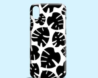 Black Monstera iPhone X case, iPhone X, iPhone 7, b&w iPhone 7 Plus case, iPhone 8 Plus, floral iPhone Se, iPhone 6S, iPhone 6, iPhone 5/5s