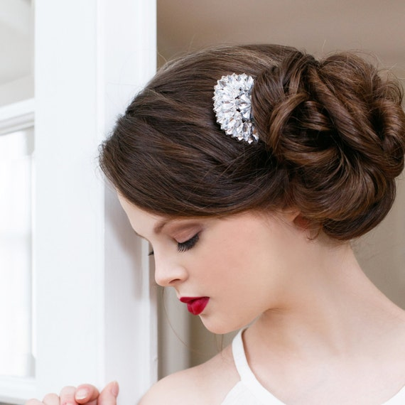 Wedding Hair Comb, Rhinestone Bridal Hair Comb, Bridal Hair Accessory, Art Deco Hair Comb, Rhinestone Flower Comb, Art Deco Comb DEW DROP
