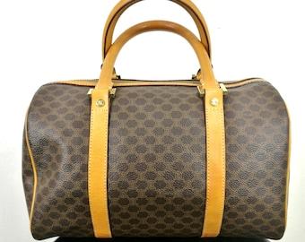 Vintage CELINE MACADAM Speedy Bag Women 90's Celine Paris Designer Traveller Celine Italy Made Shoulder Bags Celine Handbags Leather