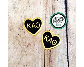 Kappa Alpha Theta Enamel Heart Stud Earrings | Sorority Earrings | Kappa Alpha Theta Earrings | Theta Earrings | Enamel Earrings
