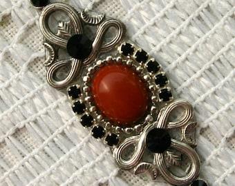 Red Jasper Bindi in Oxidized Silver