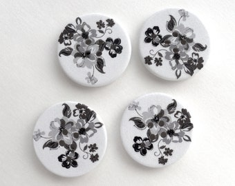 Wood Flower Buttons, Painted Wood Buttons, Round Wooden Buttons, White and Black Painted Buttons - set of 4