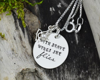 With Brave Wings Wings She Flies Necklace in Sterling Silver