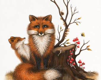 Fox and Fungi - Fine Art Illustration - Print