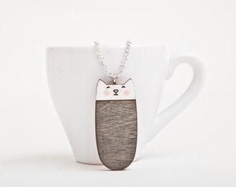 Black Cat Necklace, Wooden Black Cats, Cute Pendant, Kids Charm, Gift Sister, Cat Lover Gifts, Black Necklace, Cat Pendant, Gift for Her