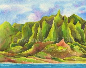 8x10 Kauai Na Pali Coast Painting Print by Melanie Pruitt as seen at Marriott Hawaii