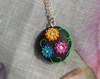 Fimo floral pendant, clay necklace