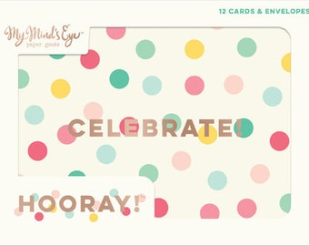 Hooray Note Card Set, Birthday Card Set, Everyday Note Cards, All Occasion Cards, Polka Dot Note Cards, Celebrate Note Cards