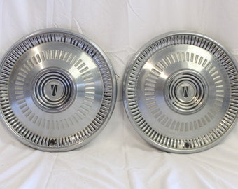 """Vintage 1964 Ford Falcon Wheel Cover Hubcup Set of 2 - 14"""" for Clocks, Crafts, Decor (L51229)"""