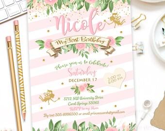 Fairy Invitation, Fairy Party Invite, Magical Fairy Party, Fairy Garden, Whimsical Invitation, Floral Fairy Invitation, Fairy Invite Digital