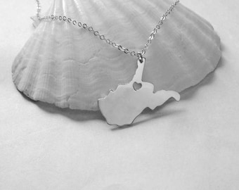Silver West Virginia State Necklace,WV Map State Necklace ,State Shaped Necklace,Personalized West Virginia State Charm With A Heart