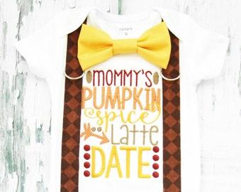 Mommy's Pumpkin Spice Latte Date, Baby Boy my first Thanksgiving, Bow tie and Suspender set, Fall Baby Boy Onesie, Boy Holiday Onesie