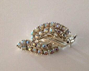 Vintage AB Rhinestone Leaf Brooch.  ( V -clasp)