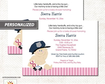 Baby cop boy police officer baby shower invitation instant police officer baby girl pink baby shower invitation baby cop printable file diy invitation printed options available filmwisefo